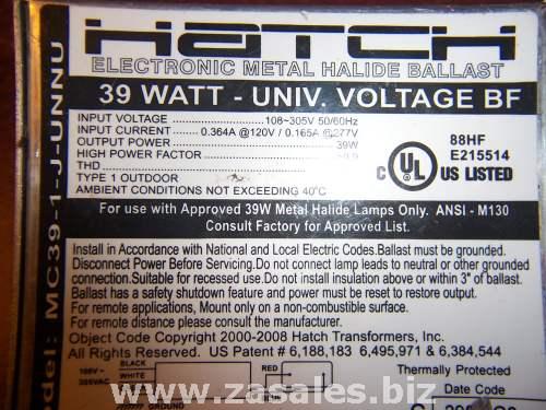 Hatch MC39-1-J-UNNUG3 - 39 Watt Electronic Metal Halide Ballast - ANSI M130