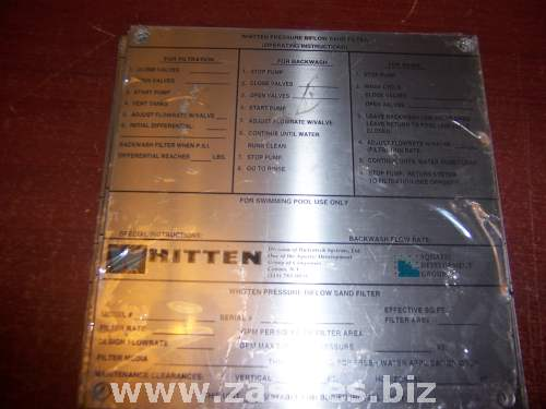 Whitten Biflow sand filter operating instruction plate swimming pool