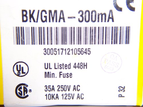 Fuse 300ma 300ma Glass BK/GMA-300MA Bussmann Eaton