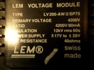 LEM High Voltage LV200 LV200-A/2/SP75 1