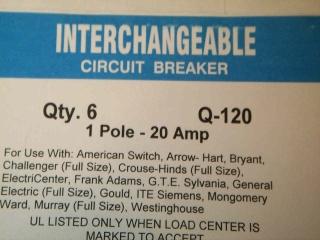 6 New Universal Fit Circuit Breaker 1P 20A Q-120 1